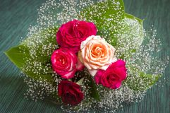 Wedding bouquet of roses, green leaves stock photo