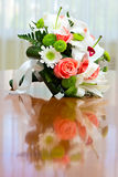Wedding bouquet of roses and lilies for bride at a wedding party Royalty Free Stock Photos
