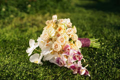 Wedding bouquet of roses and orchids lying on the lawn Royalty Free Stock Images