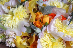 Wedding bouquet. Of roses, orchids and peonies Stock Photography