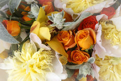 Wedding bouquet. Of roses, orchids and peonies Stock Photos