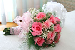 Wedding bouquet of roses. Wedding bouquet of pink roses Royalty Free Stock Photo