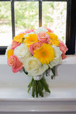 Wedding Bouquet. Roses pink white with Yellow daisies Royalty Free Stock Image
