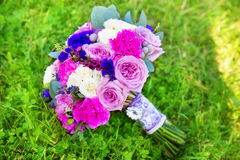 Wedding bouquet of roses in purple tones. Floristic composition. In vintage style. The Provence Stock Photography