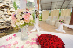 Wedding Bouquet and Roses Stock Photo