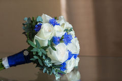 Wedding bouquet roze. Wedding bouquet white roze on the table Royalty Free Stock Images