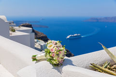 Wedding bouquet on  Santorini Royalty Free Stock Images
