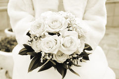 Wedding bouquet. Sepia Stock Images