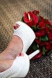 Wedding bouquet shoes Royalty Free Stock Photo