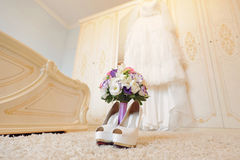Wedding Bouquet and Shoes Stock Image