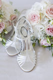Wedding bouquet and shoes nobody Stock Photography