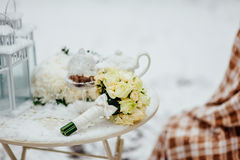 Wedding bouquet on the snow Stock Image