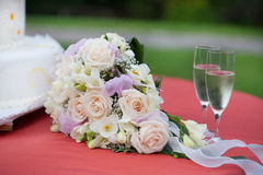 Wedding bouquet with champagne Stock Image