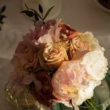 Wedding bouquet in sunset light Royalty Free Stock Photo