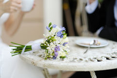 Wedding bouquet on a table Royalty Free Stock Photo