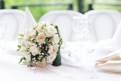 Wedding bouquet on a table Stock Photos
