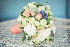 Wedding bouquet. On the table Stock Images