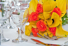 Wedding bouquet on the table Royalty Free Stock Image