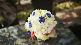 Wedding bouquet on a table stock video footage
