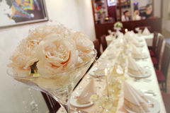 Wedding bouquet on table. Wedding bouquet for a wedding table Royalty Free Stock Photo