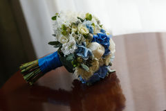 Wedding bouquet table. Near window Royalty Free Stock Photography