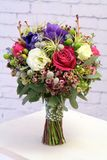 Wedding Bouquet with Tillandsia and anemones. Wedding Bouquet with Tillandsia, anemones and roses. And as with eustomomy and hypericum Royalty Free Stock Photos