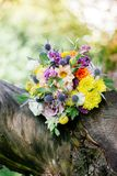 Wedding bouquet on tree. At green summer wood Royalty Free Stock Photo
