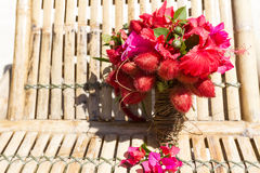 Wedding bouquet from tropical flowers on natural backgroun Stock Photos