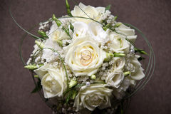Wedding bouquet with two rings Stock Photo