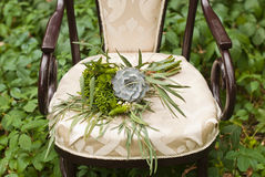 Wedding bouquet at vintage chair Royalty Free Stock Photos