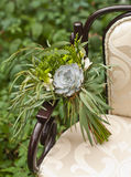 Wedding bouquet at vintage chair Stock Photo