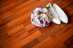 Wedding bouquet with violet flowers and white Royalty Free Stock Image