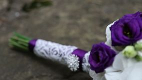 Wedding bouquet in violet style. Flowers stock footage