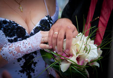 Wedding bouquet / Wedding rings Stock Images