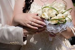 Wedding bouquet / Wedding rings Stock Photos