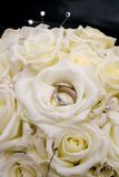 Wedding bouquet and wedding rings Royalty Free Stock Photo