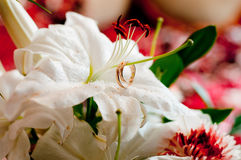 Wedding bouquet with wedding rings Stock Image