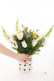 Wedding bouquet on white background. Orchid, tulips Royalty Free Stock Image