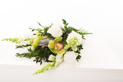 Wedding bouquet on white background. Orchid, tulips Stock Images