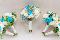 Wedding Bouquet White-Blue Theme Stock Photo