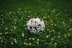 Wedding bouquet of white camomiles of purple flowers lying on the green grass Stock Photo