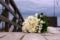 Wedding bouquet from white flowers. Outdoor Stock Photos