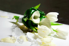 Wedding bouquet of white flowers. On silver background Stock Photography