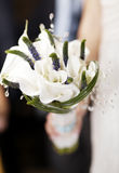 Wedding bouquet of white flowers. Bride holding wedding bouquet of white flowers. Romantic details Stock Photography