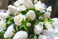 Wedding bouquet of white flowers. Closeup, selective focus Stock Photography