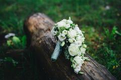 Wedding bouquet with white flowers. Wedding bouquet with white and green flowers Stock Image