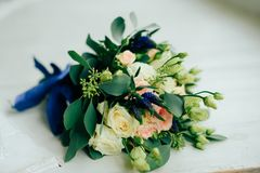 Wedding bouquet with white flowers and green leaves. 1 Royalty Free Stock Photography