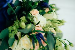 Wedding bouquet with white flowers and green leaves. 1 Royalty Free Stock Photos
