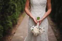 Wedding bouquet of white flowers. No face Royalty Free Stock Image
