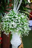 Wedding bouquet of white flowers. Preparing for the wedding ceremony. White wedding flowers Stock Image